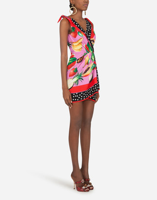 Dolce & Gabbana Short Twill Dress With Fruit Print
