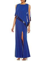 R & M Richards Sequin-Trim Popover Gown