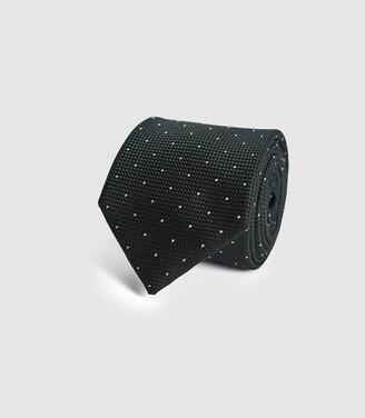 Reiss Liam - Silk Polka Dot Tie in Green