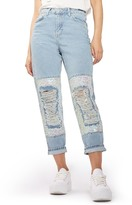 "Topshop Ripped Sequin Knee Mom Jeans - 30"" Inseam"