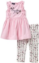 Calvin Klein Ruffled Blouse & Leggings Set (Toddler Girls)
