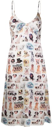 Ashley Williams Dog-Print Slip Dress