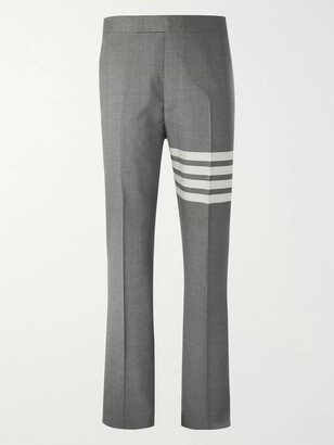 Thom Browne Grey Slim-Fit Tapered Striped Wool Suit Trousers