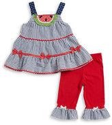 Nannette Girls 2-6x Little Girls Seersucker Dress and Leggings Set