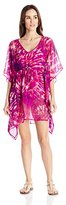 Calvin Klein Women's Plum Chiffon Caftan Cover Up with Packable Pouch