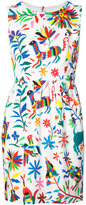 Milly sleveless floral and animal print dress - women - Cotton/Spandex/Elastane - 2