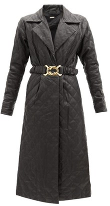 Dodo Bar Or Sally Belted Quilted-leather Shirt Dress - Black