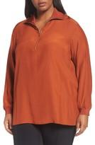 Lafayette 148 New York Plus Size Women's Lafayette Daryn V-Neck Zip Silk Blouse