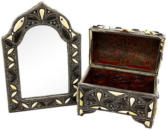One Kings Lane Vintage Moroccan Mirror & Chest - 2 Pcs - The Moroccan Room - ivory/black/silver