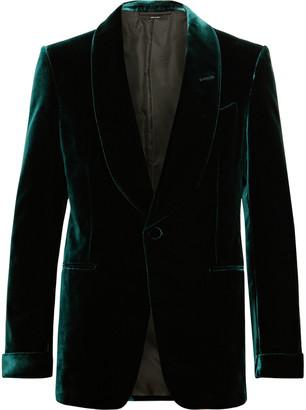 Tom Ford Emerald Slim-Fit Shawl-Collar Velvet Tuxedo Jacket
