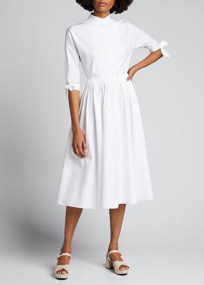 Prada 3/4-Sleeve Poplin Shirtdress