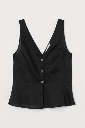 H&M V-neck Linen Blouse - Black