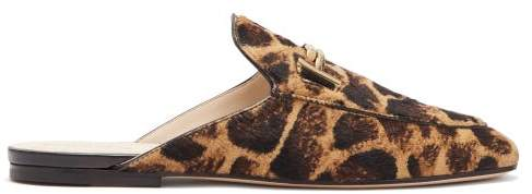 Tod's Double T Leopard Print Calf Hair Backless Loafers - Womens - Leopard