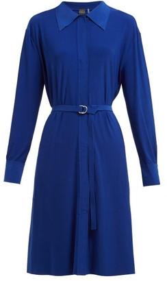 Norma Kamali Belted Jersey Shirtdress - Womens - Blue