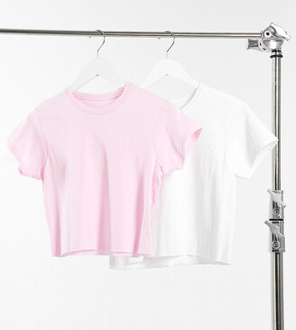 Daisy Street 2 pack raw hem cropped T-shirt white & baby pink
