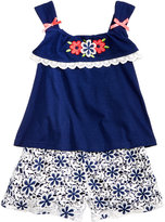 Nannette 2-Piece Floral-Embroidery Tank Top and Shorts Set, Toddler and Little Girls (2T-6X)