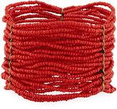 Berry Jewelry Multi-Row Beaded Stretch Bracelet, Red