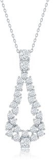 """La Preciosa Sterling Silver/Rose Gold Plated Open Pear-shaped Cubic Zirconia Statement 16+2"""" Necklace"""