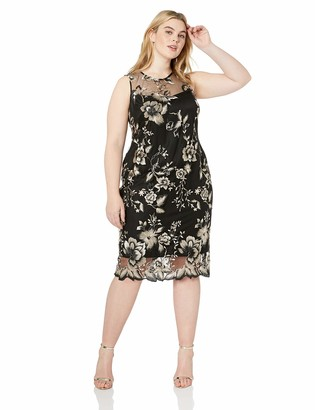 Calvin Klein Women's Plus Size Lace Sheath with Illusion Neckline Dress