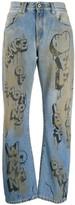 Off-White Off White graffiti print straight leg jeans