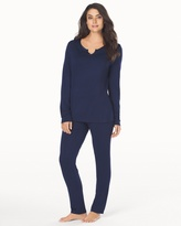 Soma Intimates Long Sleeve Pajama Set Navy-Navy