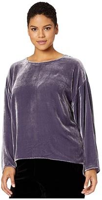 Eileen Fisher Plus Size Velvet Round Neck Bracelet Sleeve Top (Blue Shale) Women's Clothing