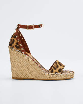 Valentino Canvas Leopard Wedge Espadrilles