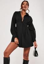 Missguided Black Poplin Pleated Waist Shirt Dress