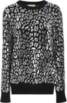 Michael Kors Silver Leopard Embroidered Top