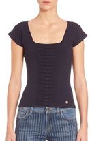 Versace Short Sleeve Ruched Knit Top