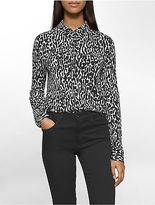 Calvin Klein Womens Leopard Print Button Front Long Sleeve Top