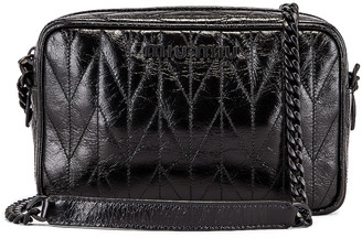 Miu Miu Leather Camera Bag in Black | FWRD