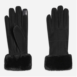 Joe Fresh Women's Faux Fur Cuff Gloves, Black (Size L/XL)