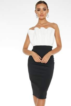 Quiz Black Frill Bandeau Midi Dress