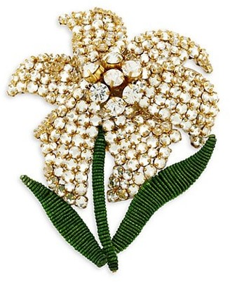Rebecca De Ravenel Iris 18K Goldplated Beaded Hand-Embroidered Brooch