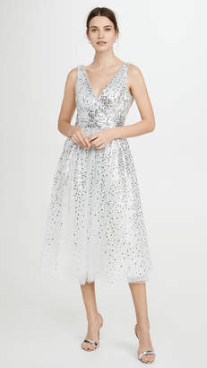 Marchesa Sleeveless V Neck Degrade Sequin Gown Tea Length