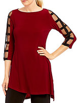 IC Collection Boat Neck Ladder Mesh Sleeve Tunic