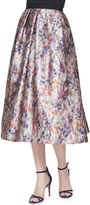 Phoebe Couture - Floral Printed Jacquard Skirt in Multi