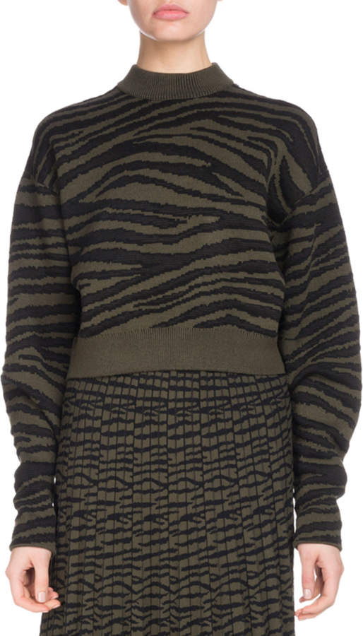 Proenza Schouler Crewneck Tiger-Jacquard Cropped Pullover Sweater