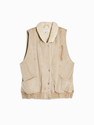 Topshop Faux Shearling Lined Gilet- Sand