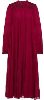 Giambattista Valli Guipure Lace-paneled Gathered Silk-chiffon Midi Dress