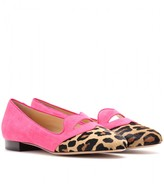 Charlotte Olympia BISOUX SUEDE SLIPPER-STYLE LOAFERS
