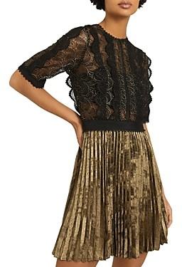 Reiss Athena Lace Pleated Mini Dress