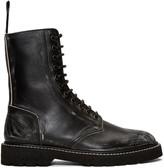 Maison Margiela Black Leather Distressed Boots