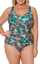 Jessica Simpson Floral Print Tie Back One-Piece Swimsuit