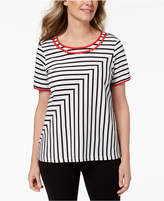 Alfred Dunner Barcelona Mitered-Striped Top