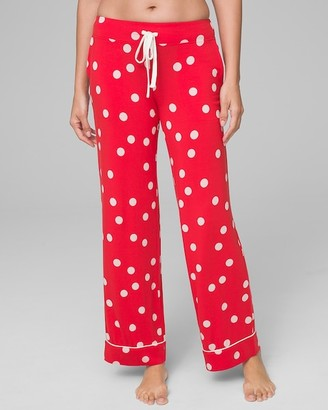 Cool Nights Grosgrain Trim Pajama Pants Whimsy Dot Cherry Red RG