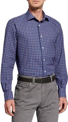 Neiman Marcus Men's Plaid Sport Shirt, Blue/Red/White