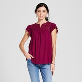 Merona Women's Eyelet Flutter Sleeve Top