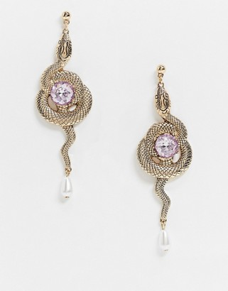 ASOS DESIGN earrings with entwined snake and jewel in gold tone